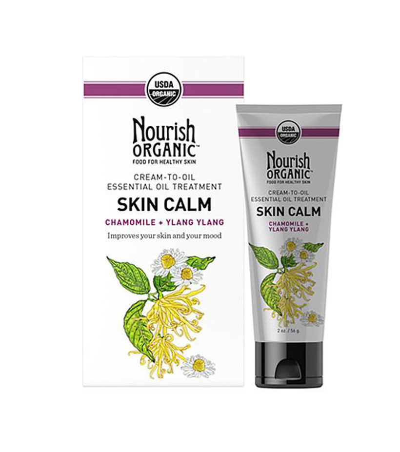 Nourish Organic Cream-to-Oil Essential Oil Treatment Skin Calm If you have super-dry, sensitive skin, this cream-to-oil treatment is perfect: packed with soothing chamomile, ylang and patchouli oils, it sinks right into the skin to lock in moisture all day (or night) long.