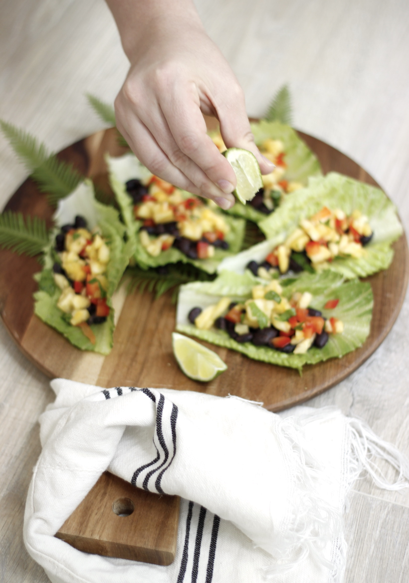 Recipe for Black Bean and Pineapple Salsa Lettuce Boats