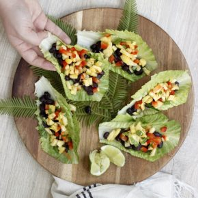 Recipe for Black Bean and Pineapple Salsa Lettuce Boats