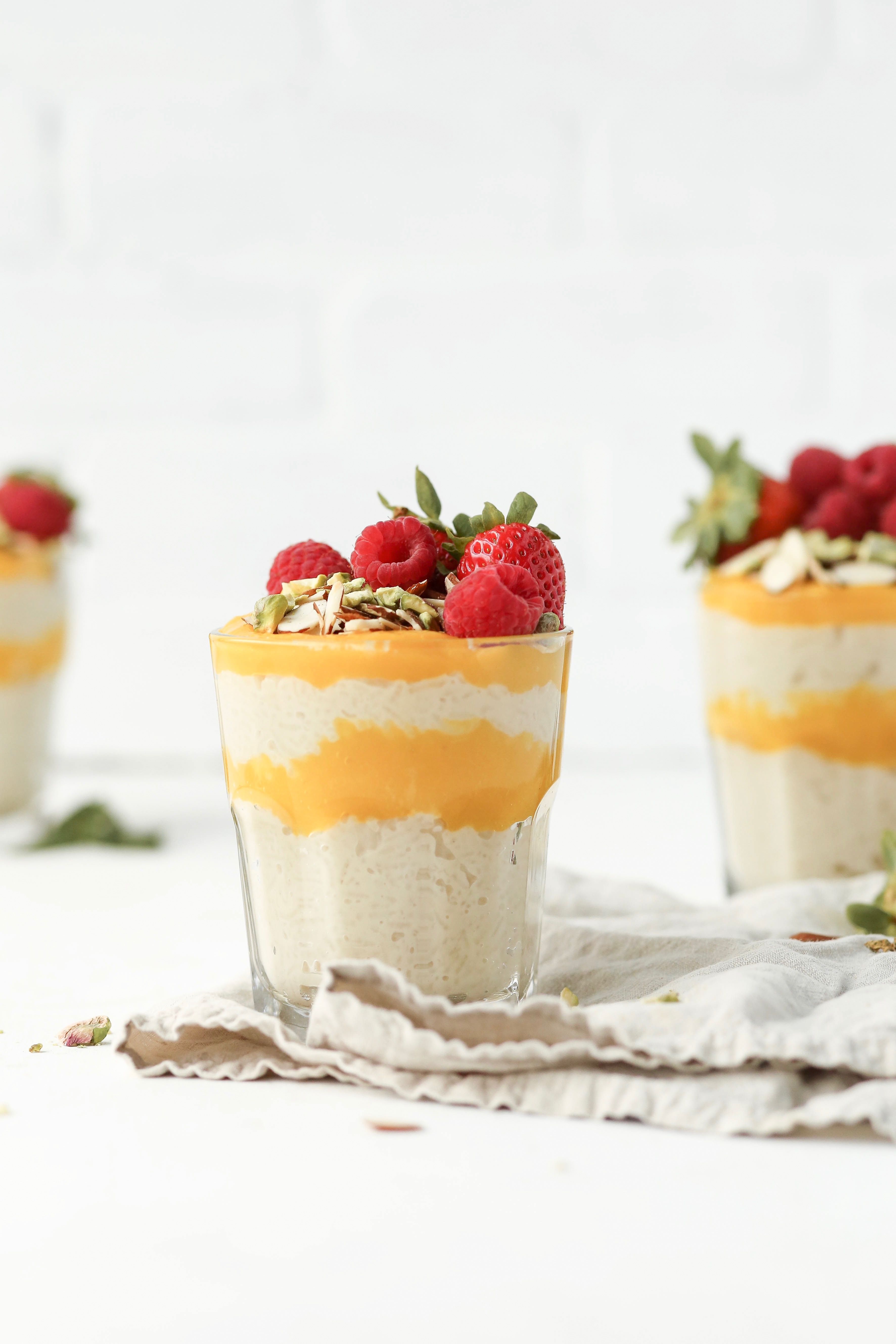 easy mango curd puree and rice pudding parfaits | This Brown Kitchen