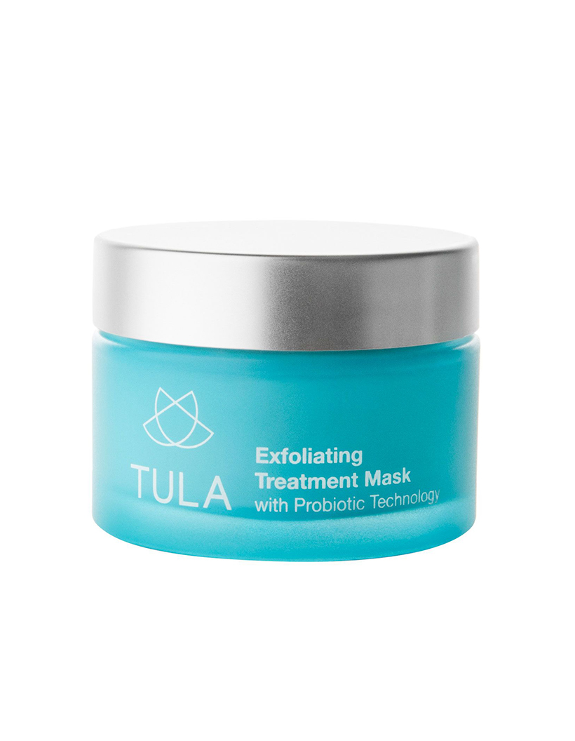 Exfoliating Treatment Mask by Tula If you've resorted to treating your acne-prone skin with harsh treatments and products, I'd urge you to try this mask instead. With clarifying clay, anti-inflammatory turmeric, and antioxidant blueberry extract, this stuff is seriously like a facial in a jar—and it'll baby your skin, rather than burn or irritate it.