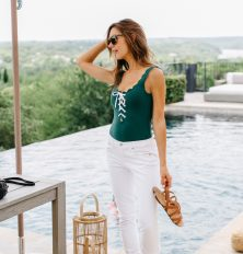 Camille Styles pool and J.Crew swimsuit