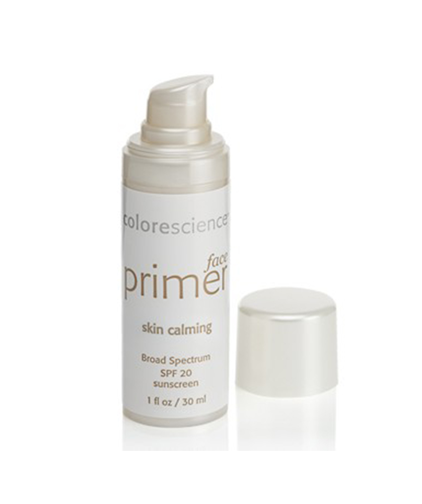 Colorescience Skin Calming Face Primer SPF 20 If your skin is the sensitive type (and you, like me, feel like you're always battling some kind of redness for one reason or another), this primer by Colorscience may be the perfect fit. It calms the skin while it neutralizes redness, while also protecting your mug with SP 20.