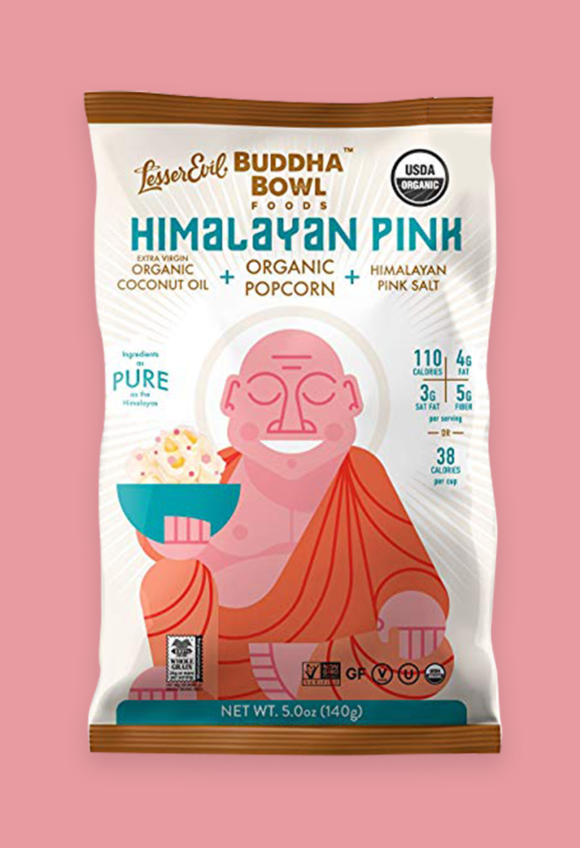 Organic Air-Popped Popcorn I love Lesserevil Buddah Bowl Organic Popcorn, especially the Himalayan Sea Salt flavor. One bag totally satisfies my snacking cravings - plus has 5 grams of fiber and only 100 calories.