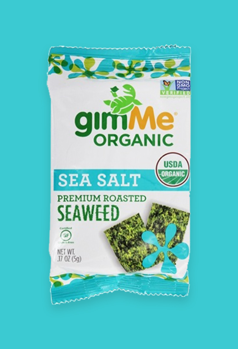 Roasted Seaweed Snacks These are perfect for those of us who sometimes want to snack when we're not actually that hungry since they're basically... air. BUT one snack-sized pack of GimMe Organic Premium Seaweeddoles out a healthy dose of vitamins and minerals, plus plant-based protein and iodine. All in a 25 calorie pack. Seriously. My favorite thing is to slice up an avocado, sprinkle with sesame seeds, and roll it up in the seaweed sheetfor a sushi-like snack. Kinda tricky on an airplane, but worth it.