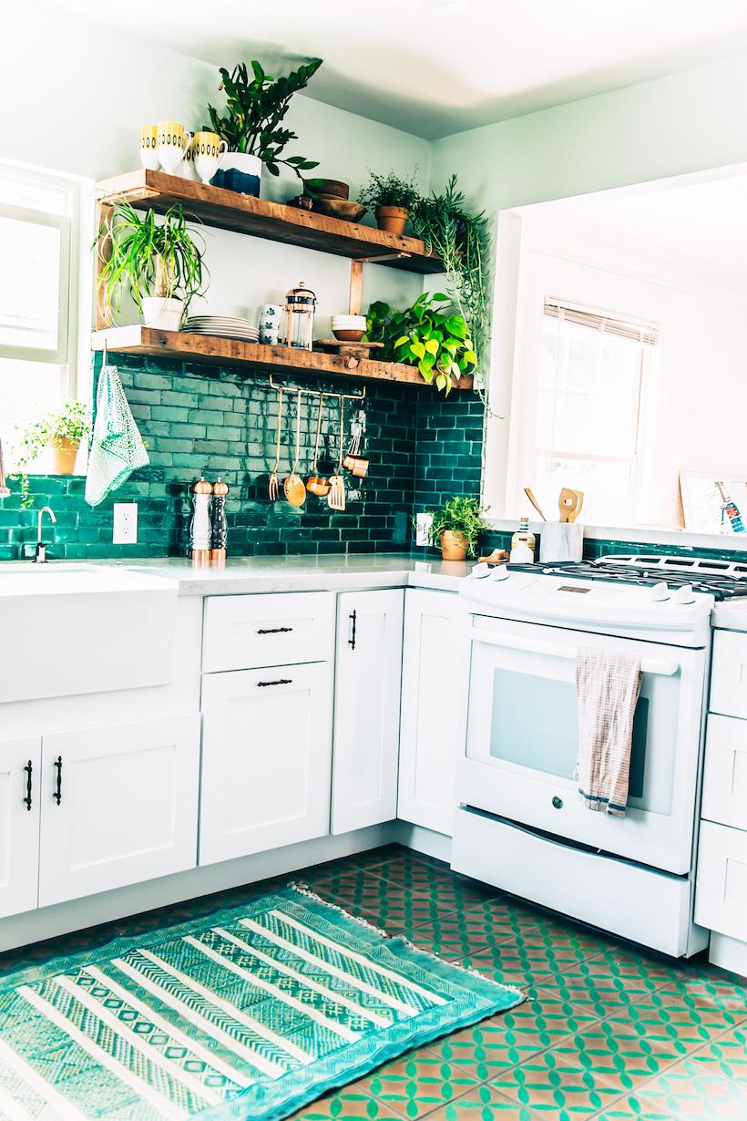 Justina Blakeney's jungalow green tiled kitchen