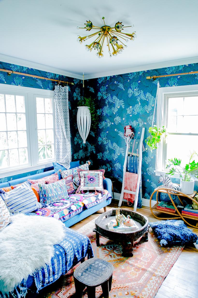 Justina Blakeney's jungalow blue wallpapered den