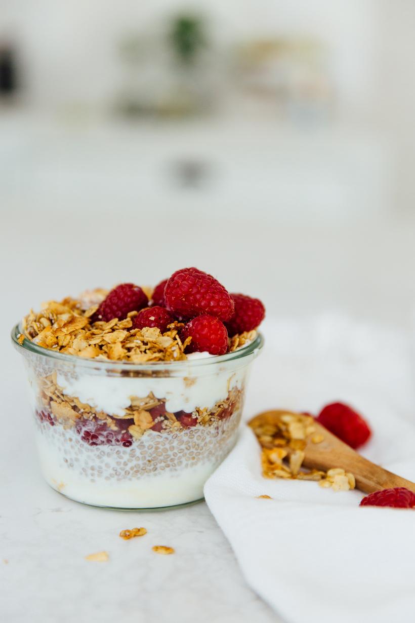 Raspberry Chia Yogurt Pudding recipe is the easiest healthy breakfast on the go