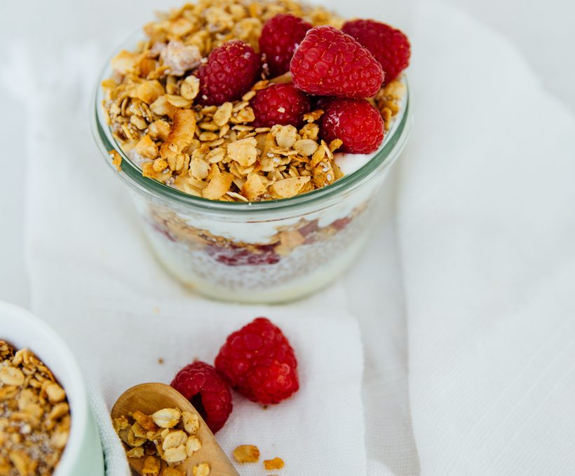 Raspberry Chia Yogurt Pudding recipe is the easiest healthy breakfast on the go