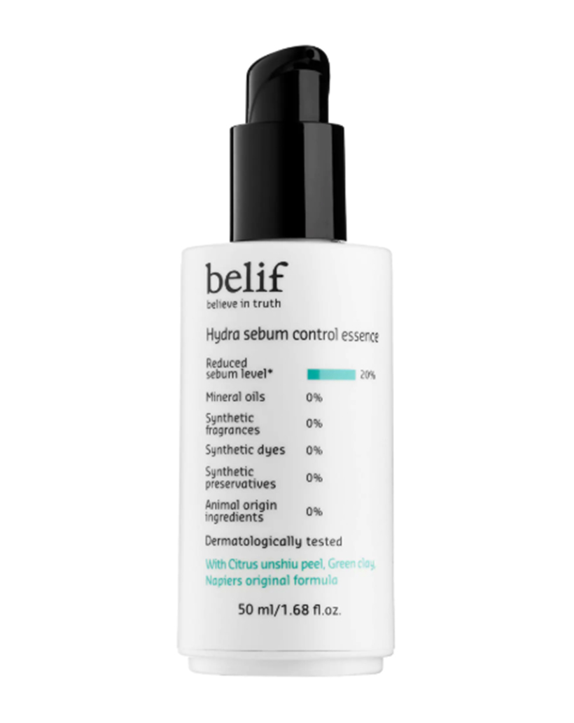 Oil-Controlling Belif Hydra Sebum Control Essence If keeping grease at bay is your game, this genius preparation will totally change your strategy. Designed to reduce surface oil by 20 percent, this weightless serum infuses the skin with hydration and then dried to a matte finish, leaving skin feeling perfectly balanced.