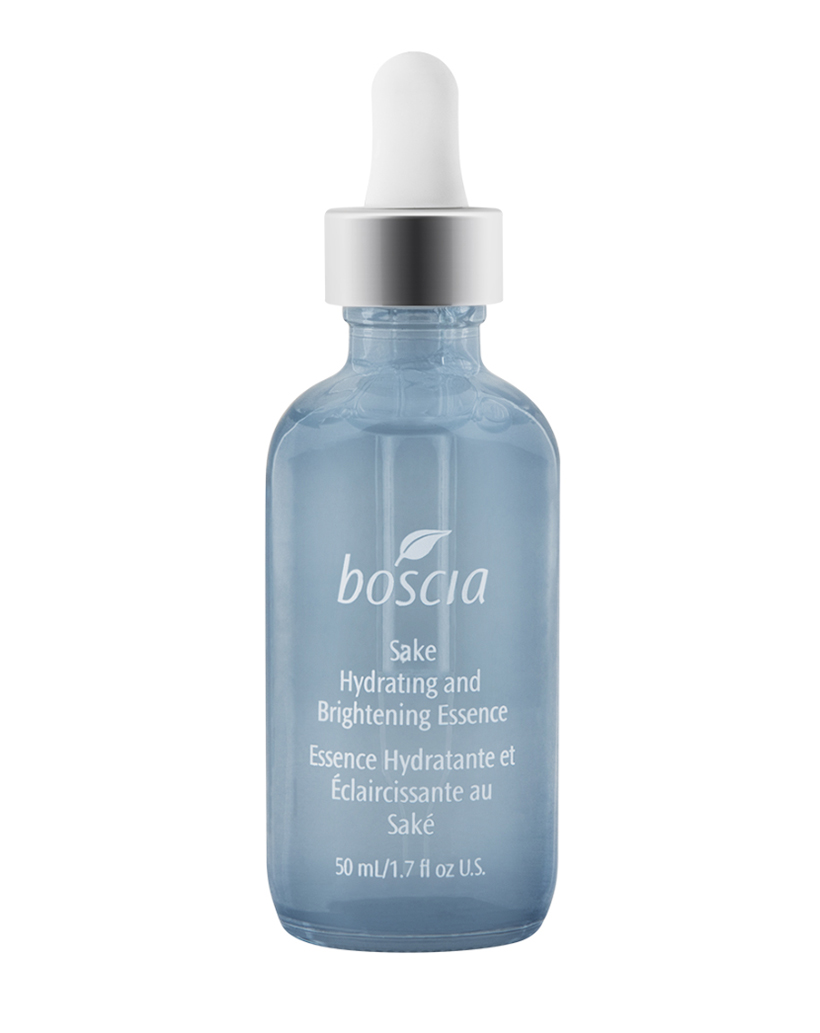Brightening Sake Hydrating and Brightening Essence by Boscia A lightweight gel featuring vitamin- and mineral-rich sake, caffeine, and sea algae, this powerhouse gel renews, de-puffs, brightens, calms inflammation, and firms—hows that for multitasking?