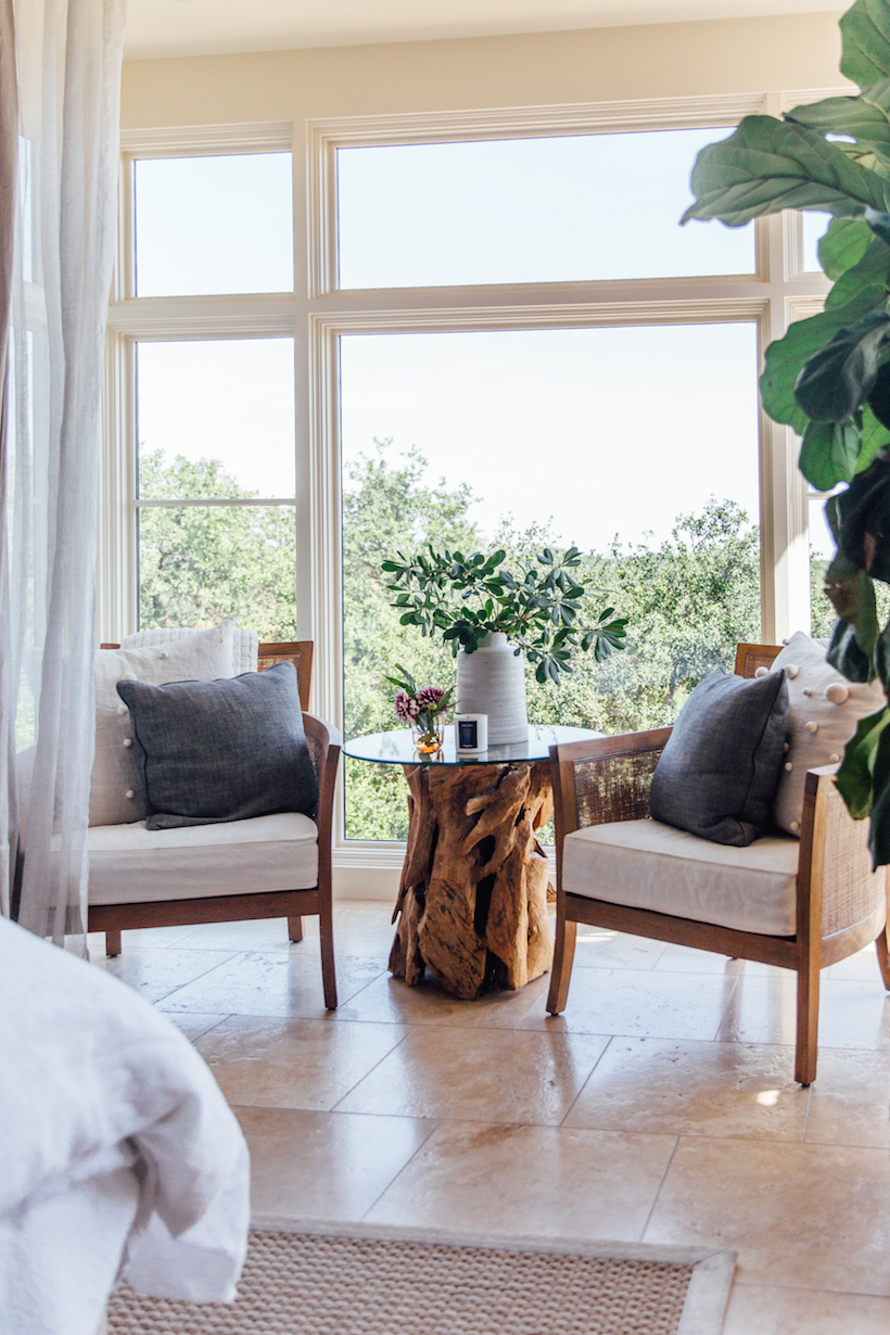 bright and airy bedroom with neutral interiors