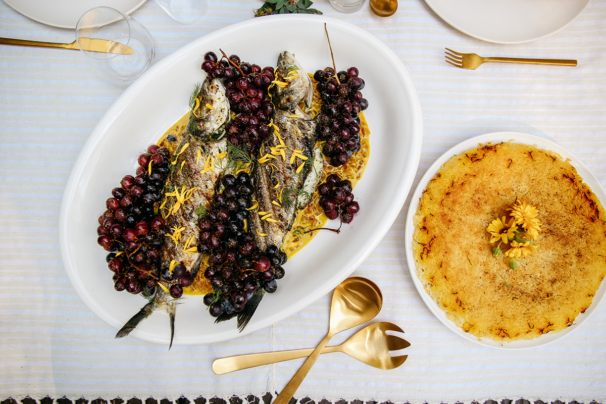 grilled branzino and roasted grapes