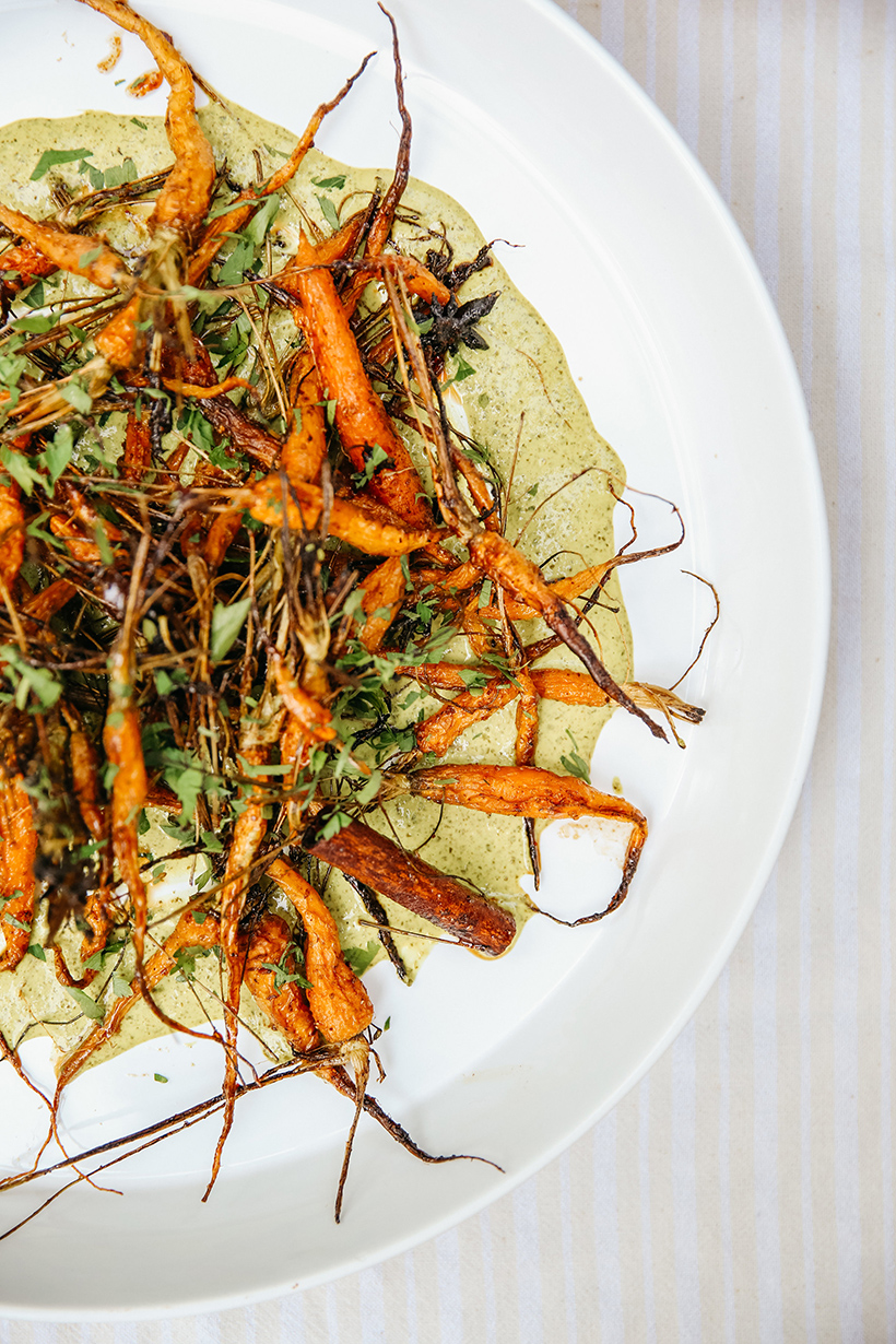 citrus roast carrots with green curry
