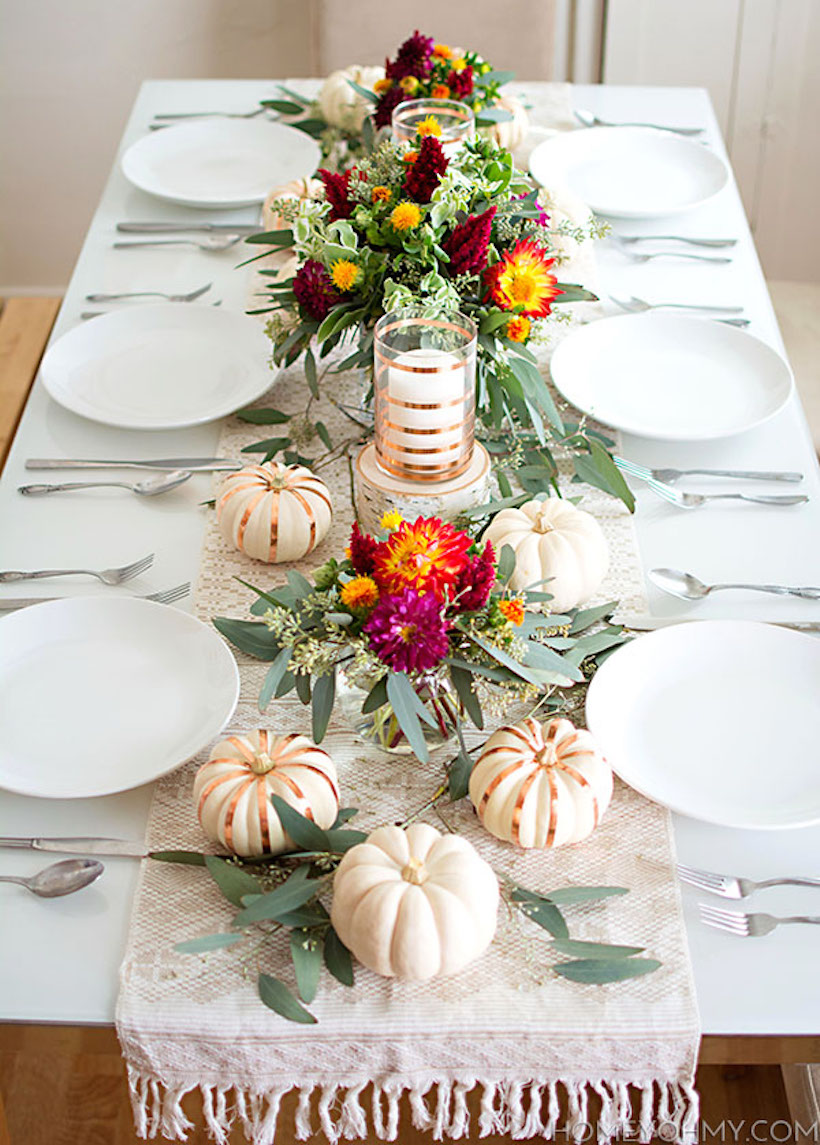 neutral fall table scape with pops of floral color