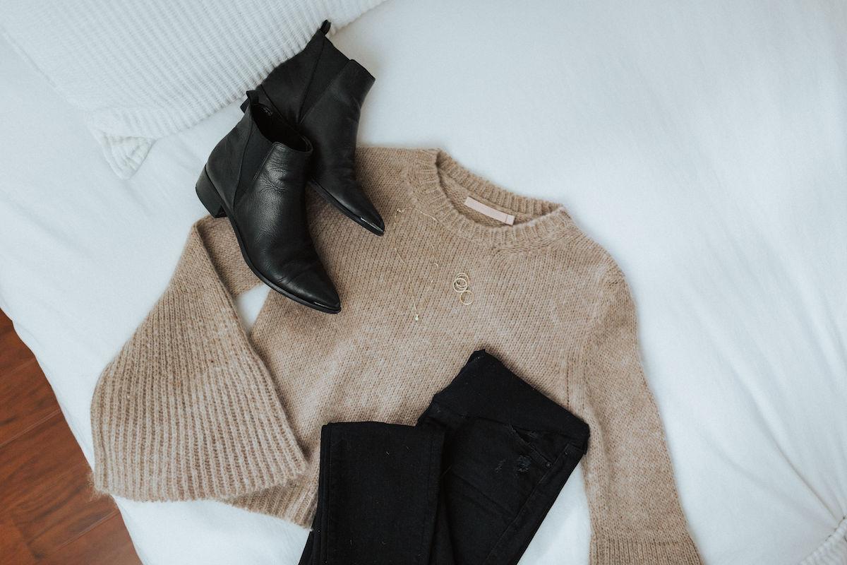 fall fashion cream sweater black booties