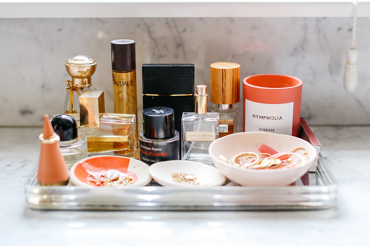 pretty products on bathroom counter