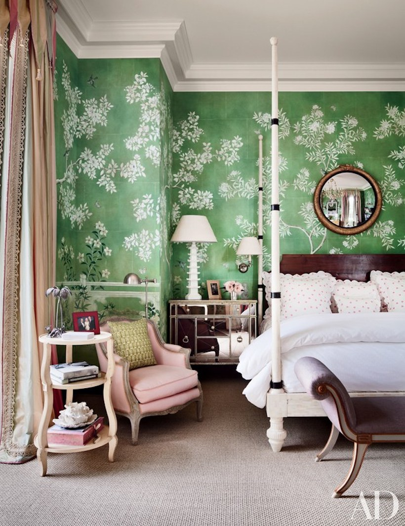 colorful four poster bed