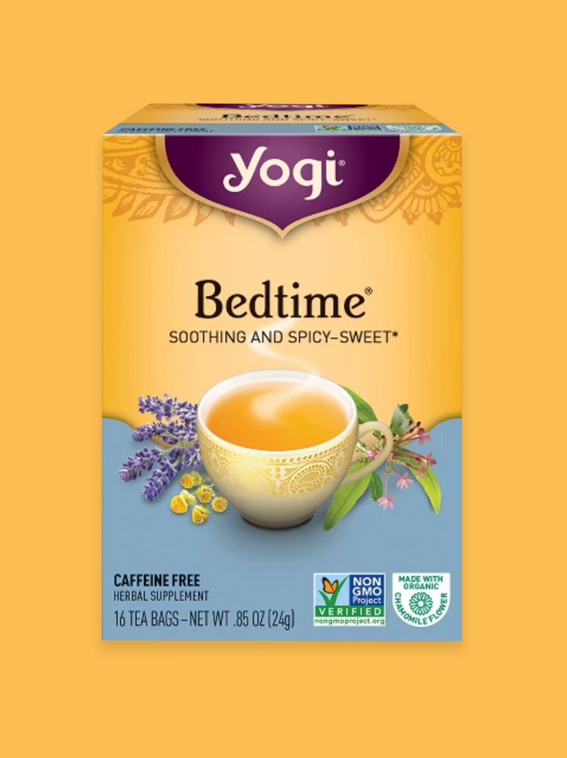 Yogi Bedtime Herbal Tea Yogi Bedtime Tea is an oldie but goody; I've had a cup of this tea with a little stevia pretty much every single night for the past 2 years. I even pack it in my suitcase when I travel. It may be the power of association that signals to my brain that it's time for sleep, but whatever it is, this herbal blend always helps me slow down and relax.