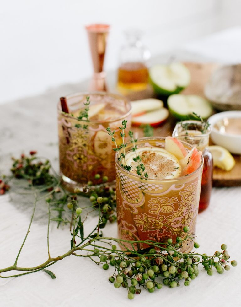 apple cider and bourbon punch fall cocktail
