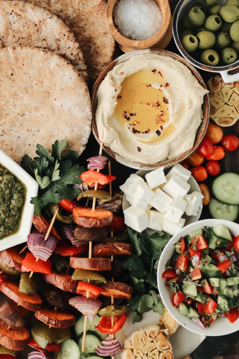 Easy pita and kebab Dinner Board for a Party
