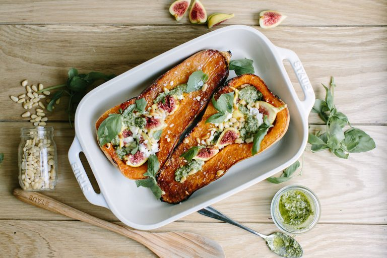 Roasted Butternut Squash Stuffed with Goat Cheese, Figs, and Pesto