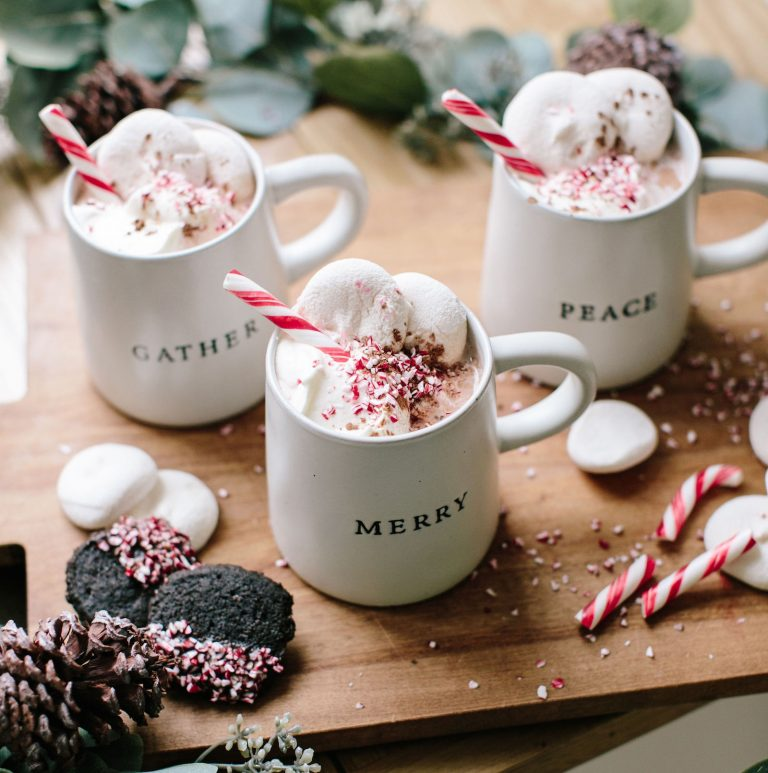 This boozy peppermint hot chocolate sugar, spice and everything nice
