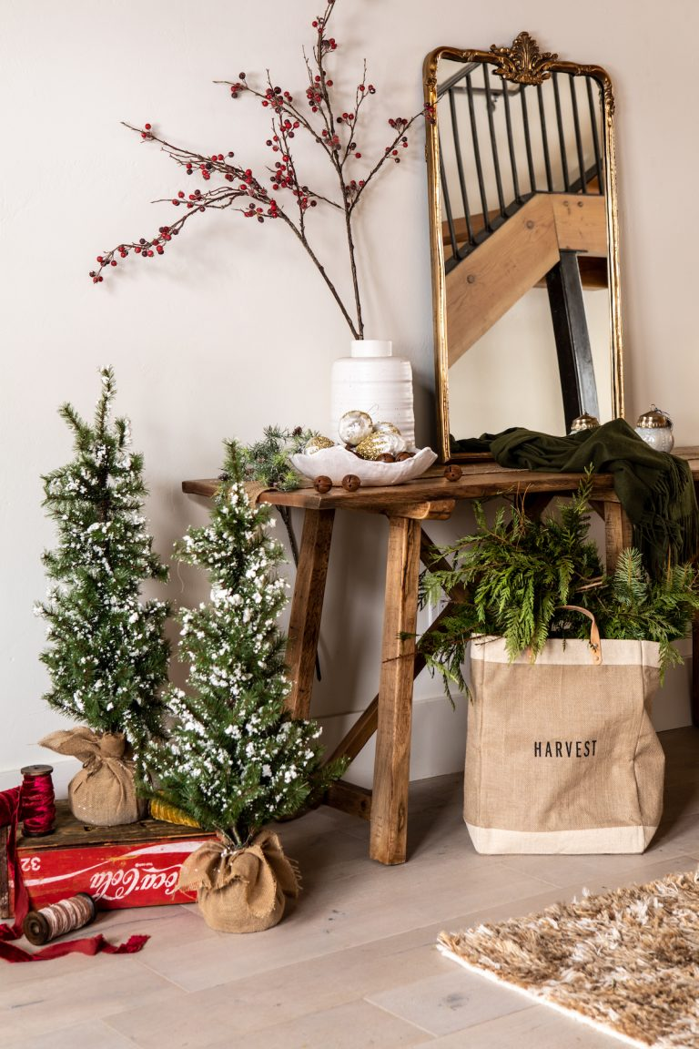 beautiful entryway decorated for holidays