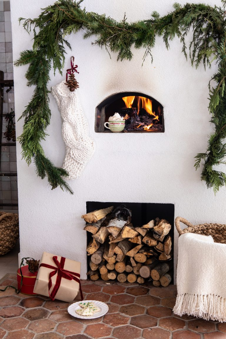 beautiful winter fireplace