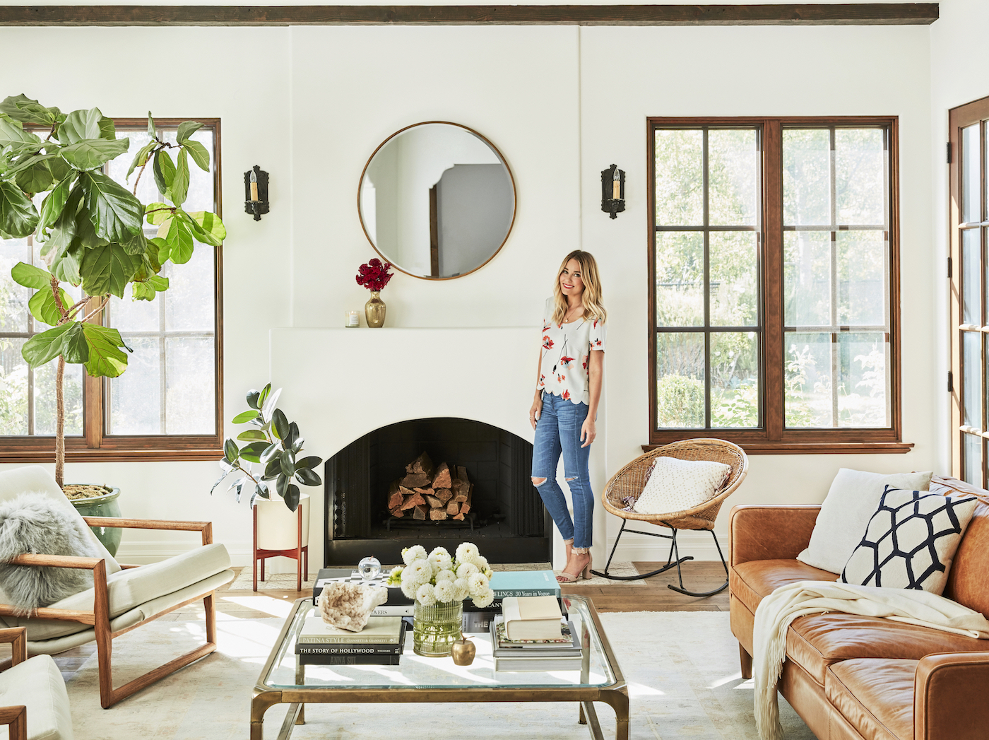 Lauren Conrad's neutral, modern mediterranean living room