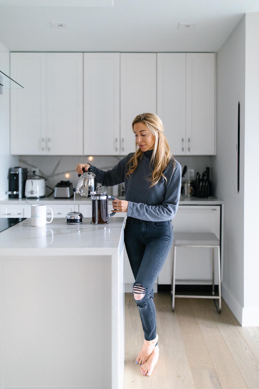 morning coffee, neutral kitchen, white kitchen, making breakfast