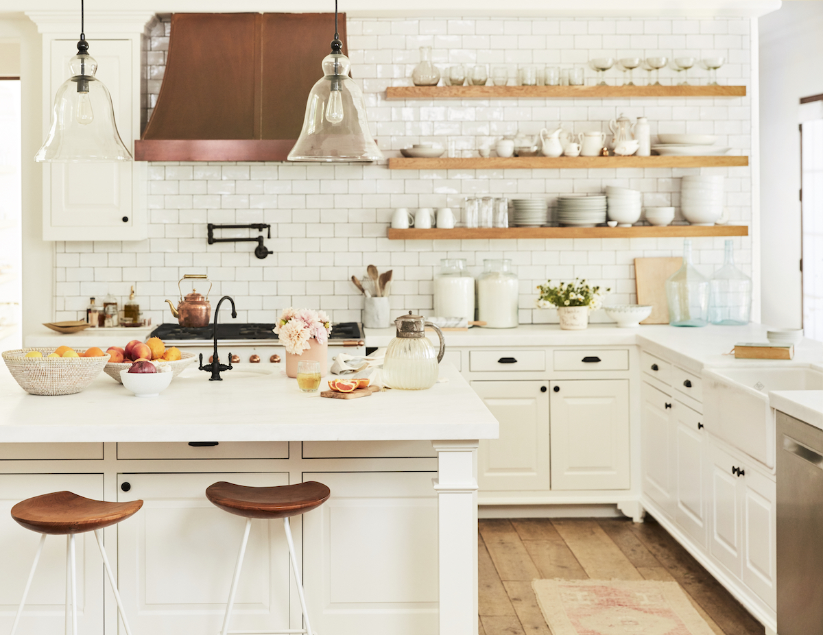Lauren Conrad's White Kitchen with Copper Hood and Open Shelving