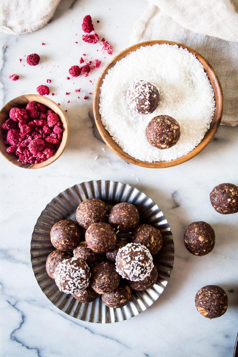 raspberry cocoa energy balls, healthy snack