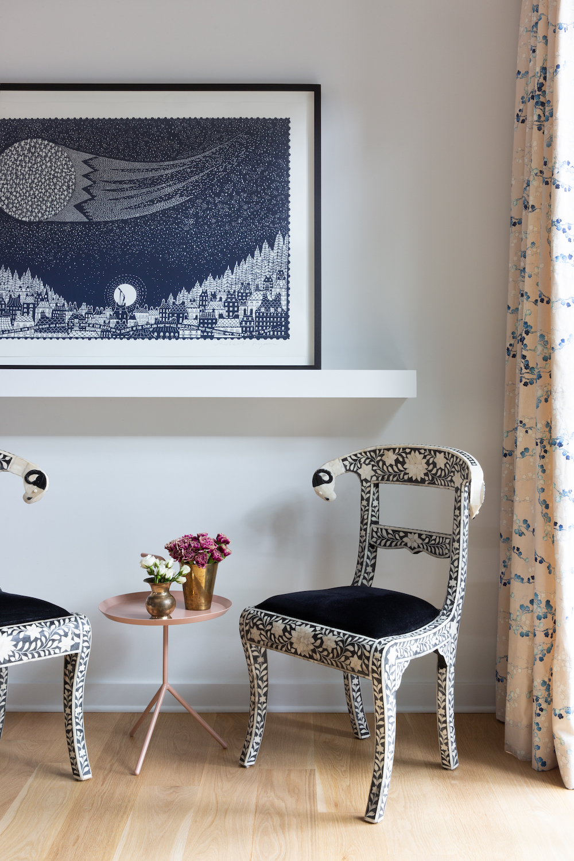 kim west's pattern filled living room