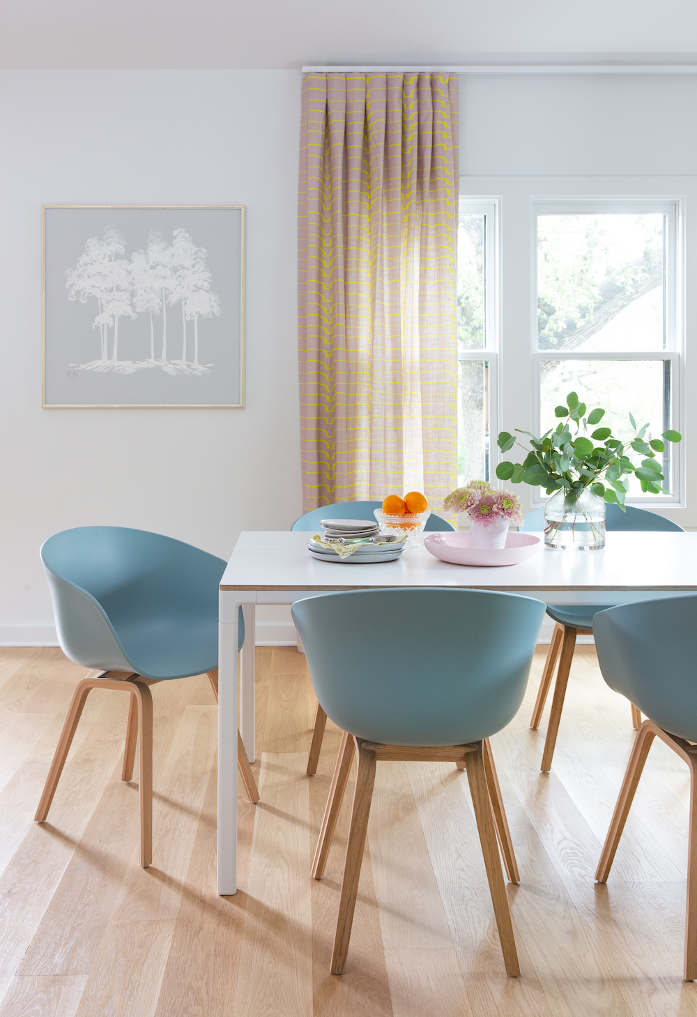 color and pattern filled modern dining room