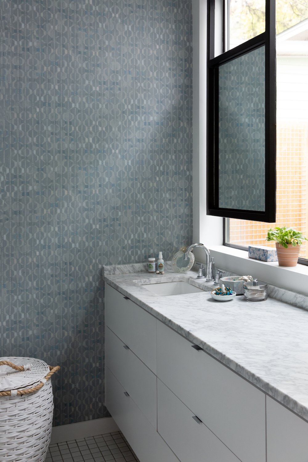 pattern filled and serene master bath