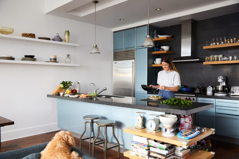 blue kitchen in a NY apartment