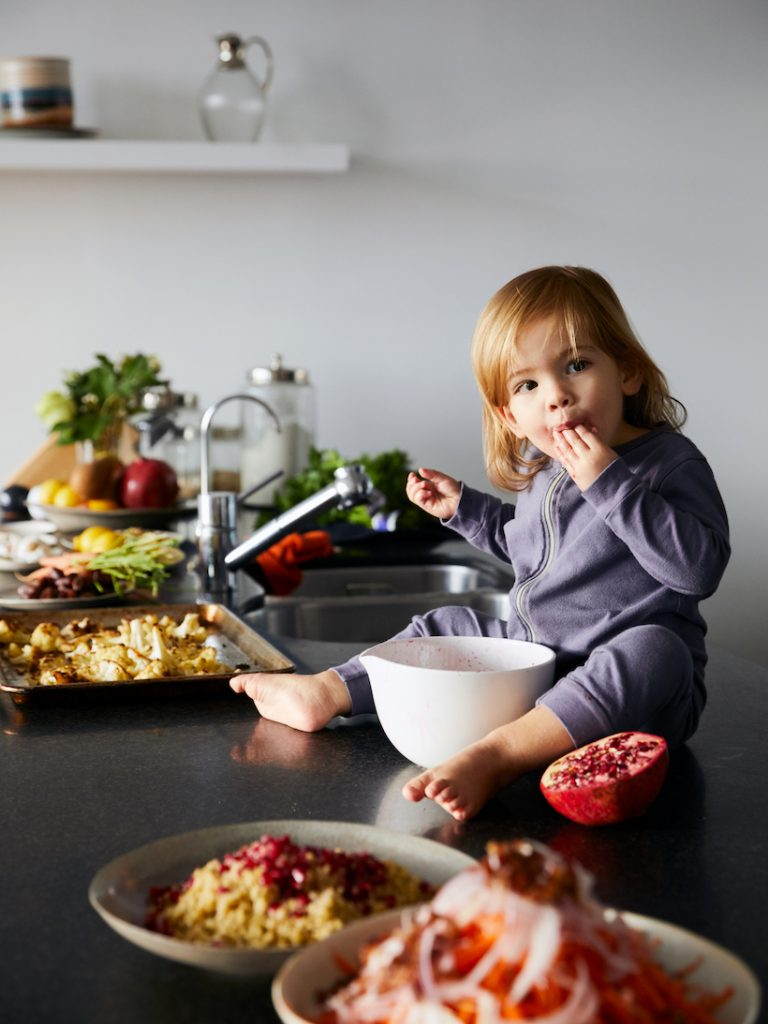 cute baby cooking with mommy