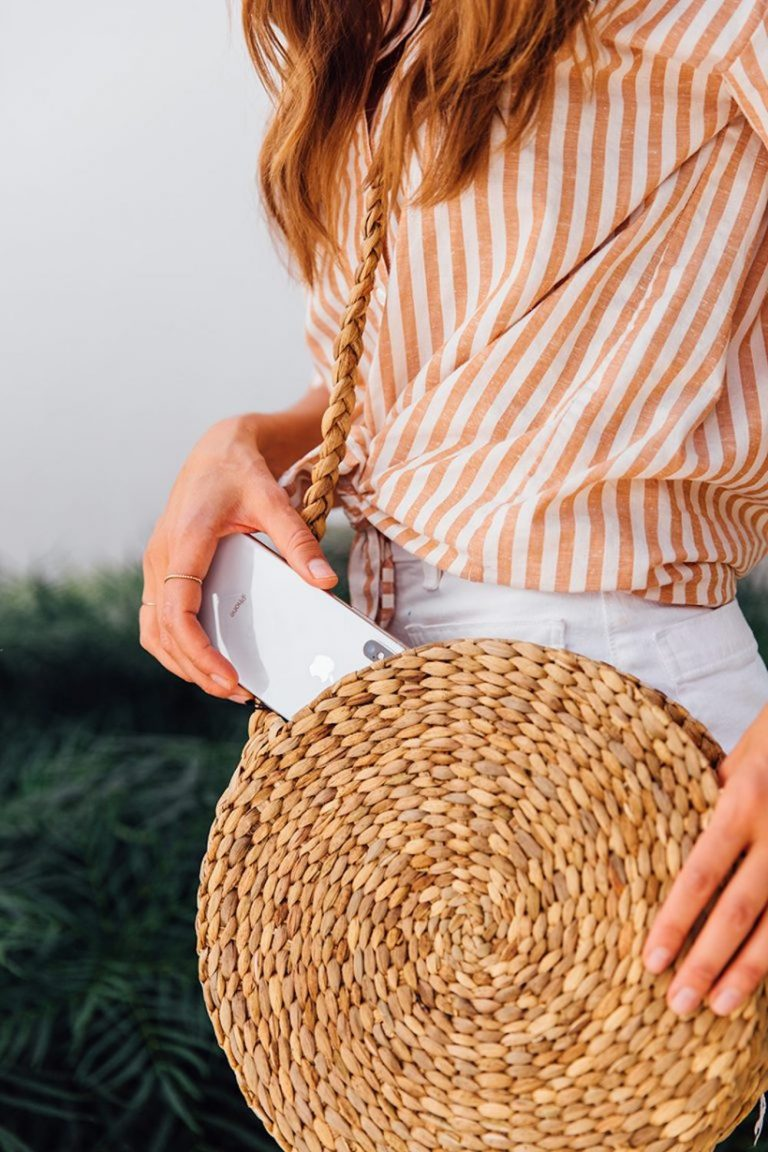 straw purse, cell phone, summer outfit