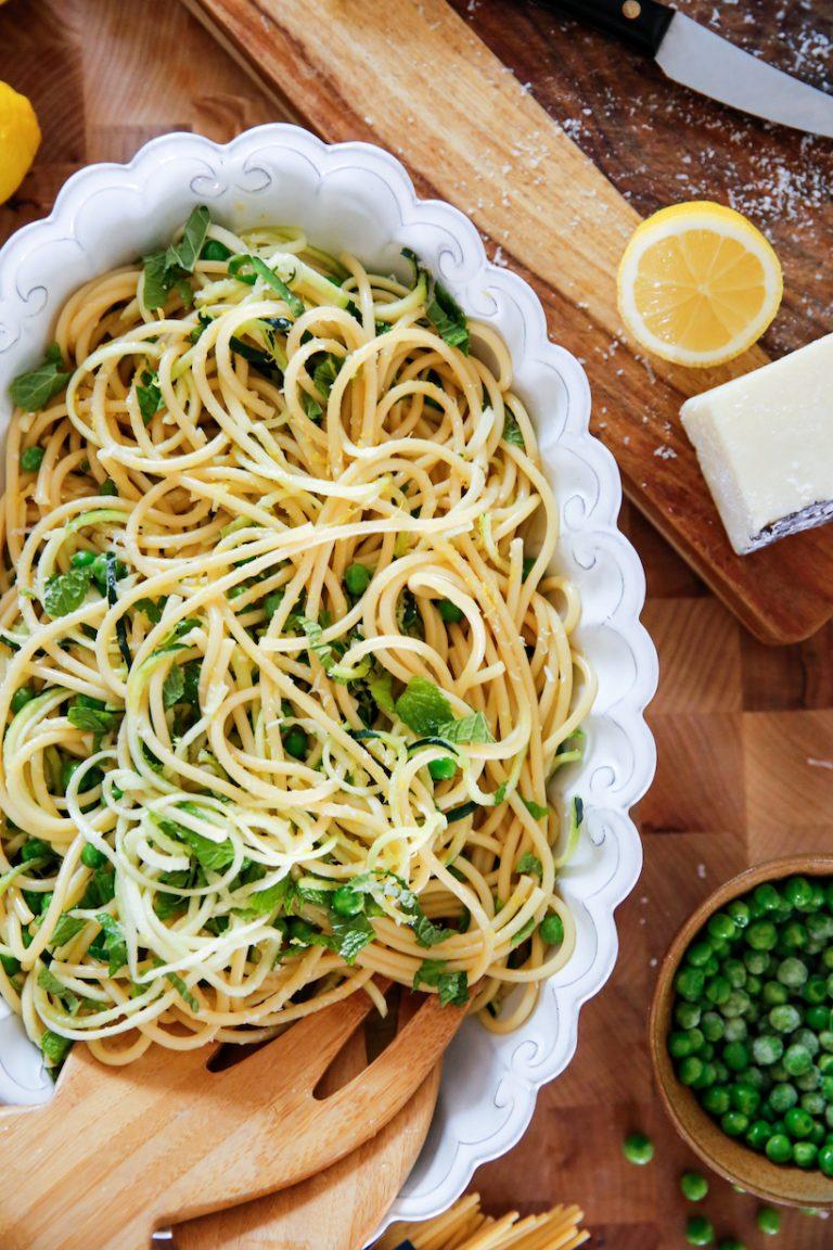 Lemony Bucatini Carbonara with Zucchini & Peas