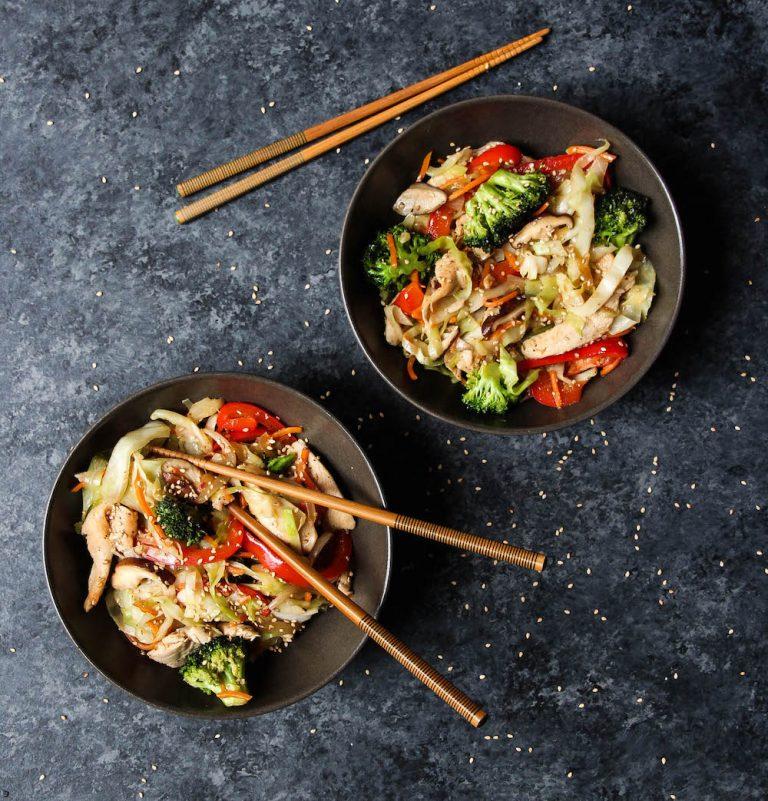 Chicken Cabbage lo mein, healthy dinner recipe