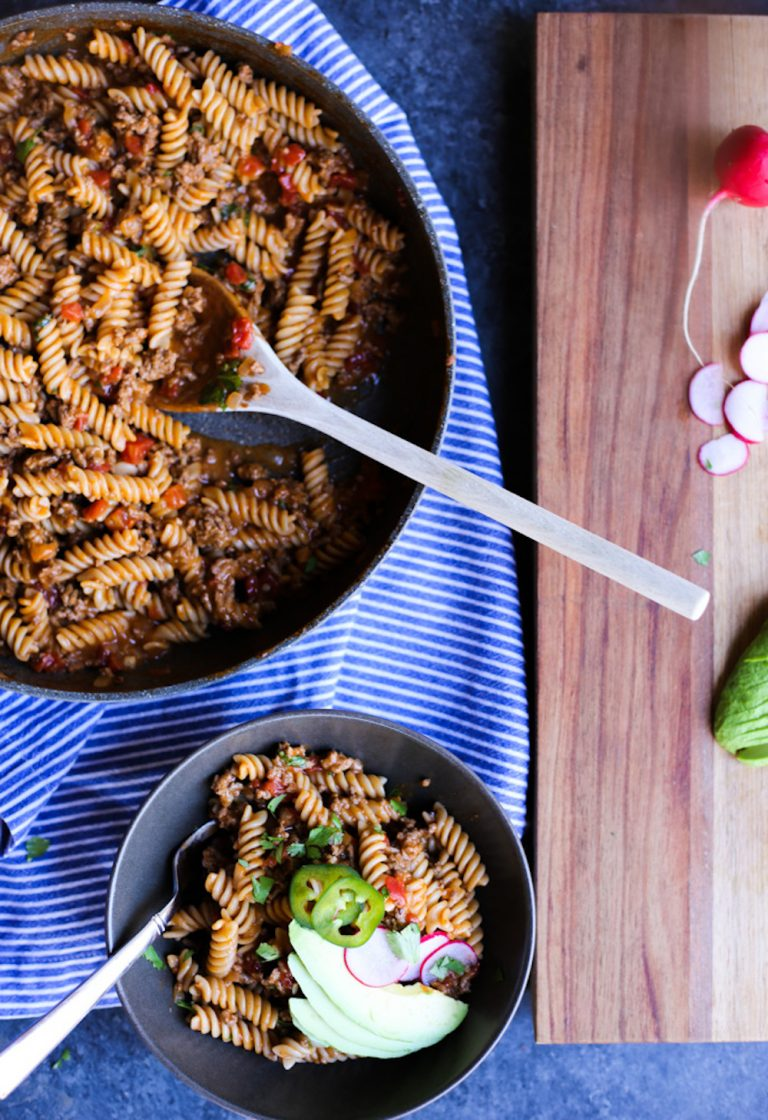 one pot taco pasta, healthy dinner recipe, the defined dish recipe