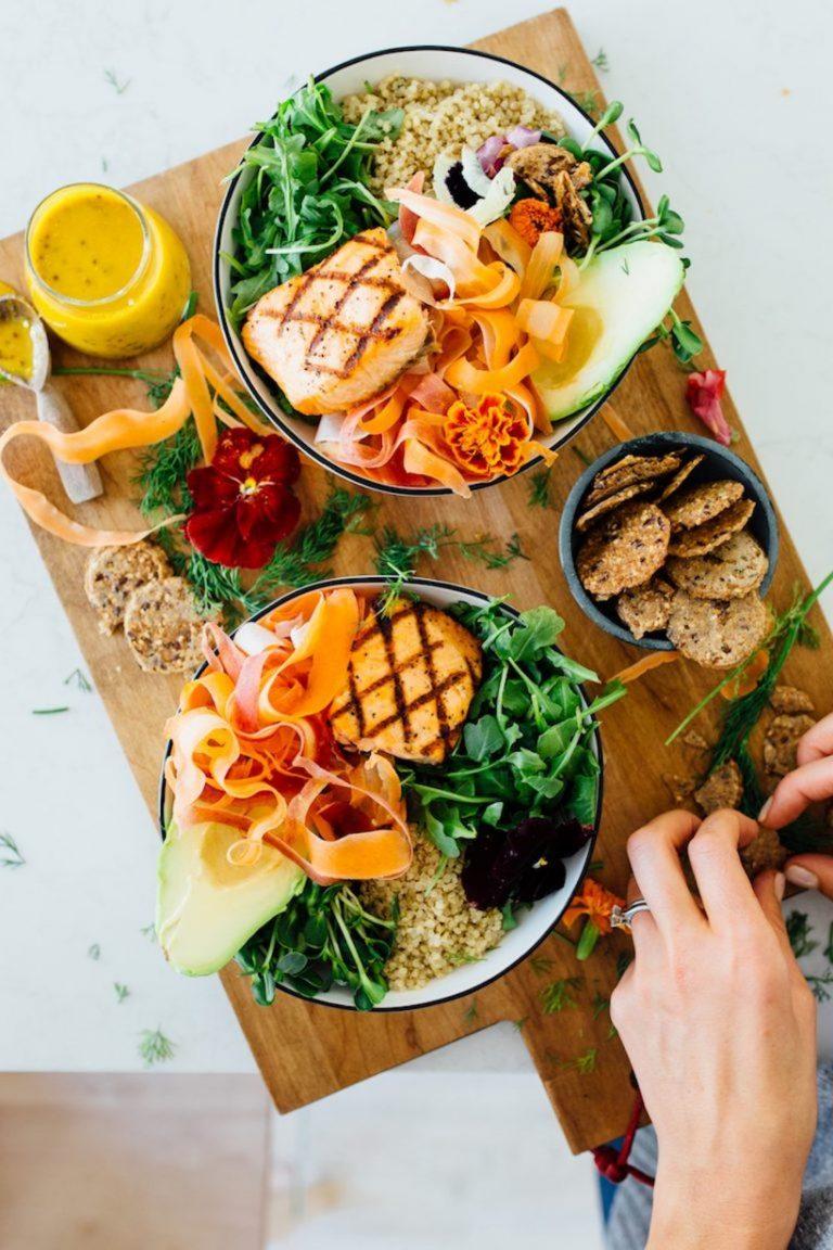 healthy salmon grain bowl, healthy lunch recipe