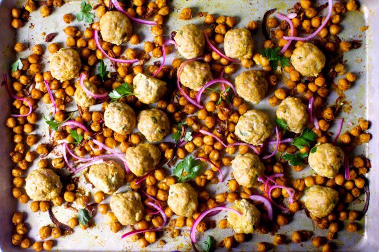 healthy dinner recipes, sheet pan meatballs