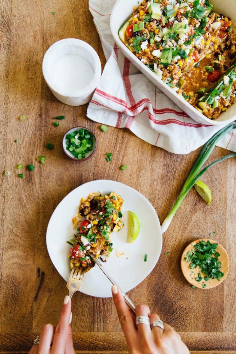 Enchilada stuffed zucchini boats, healthy dinner recipe