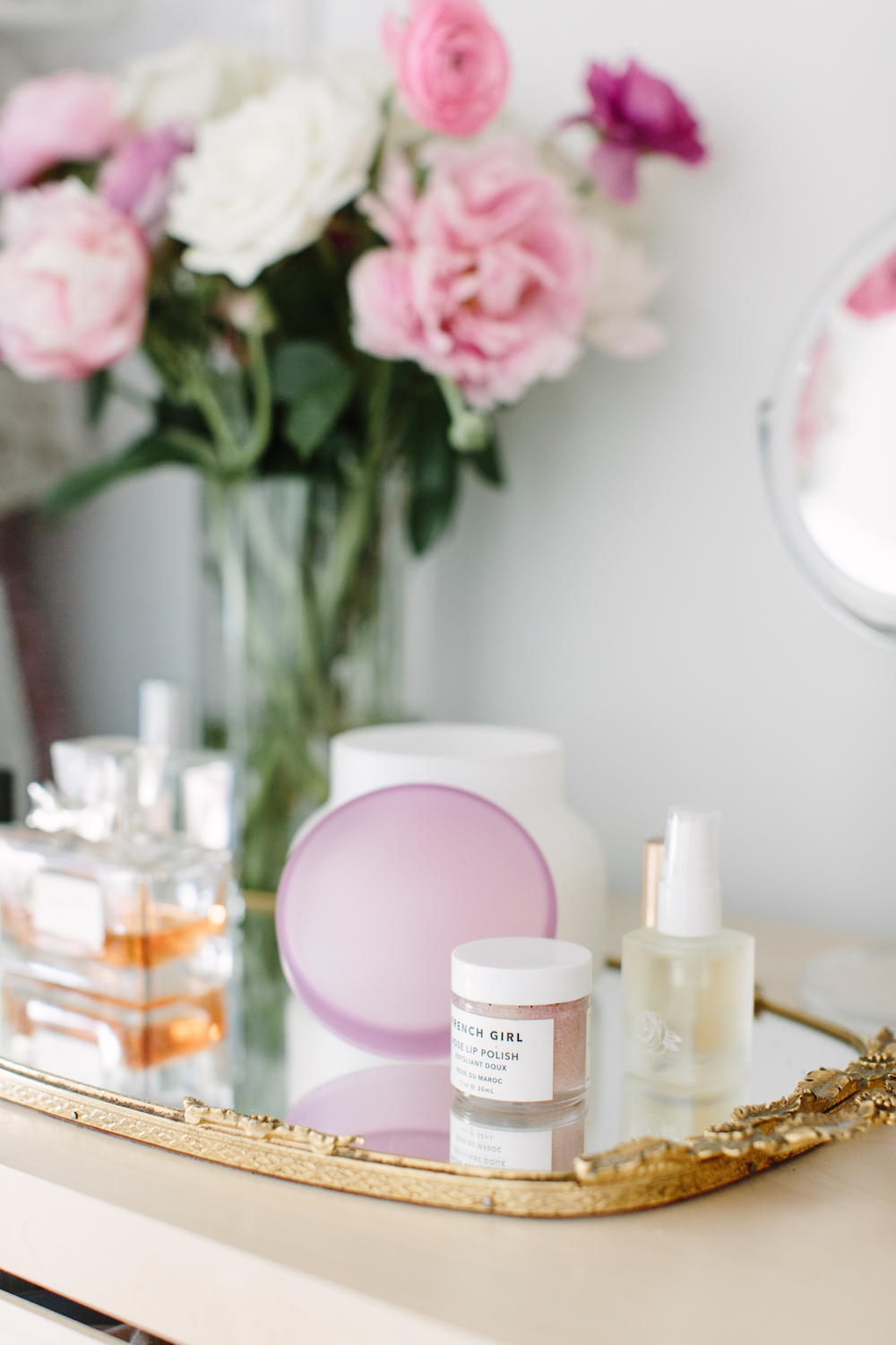 vanity with beauty details and must have products