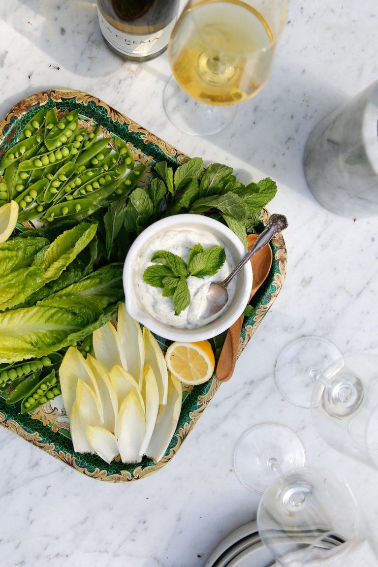 mint tzatziki with spring green crudite