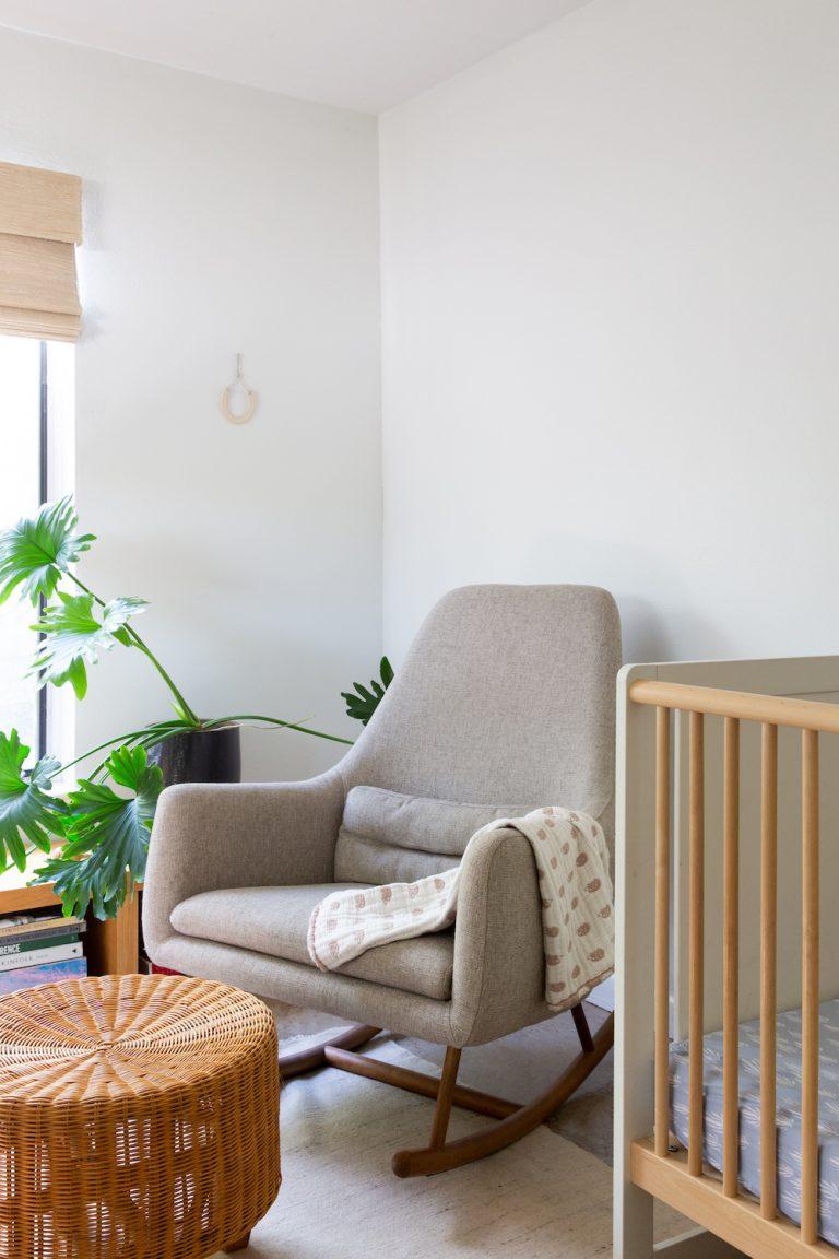 neutral nursery corner in a minimalist and modern austin home