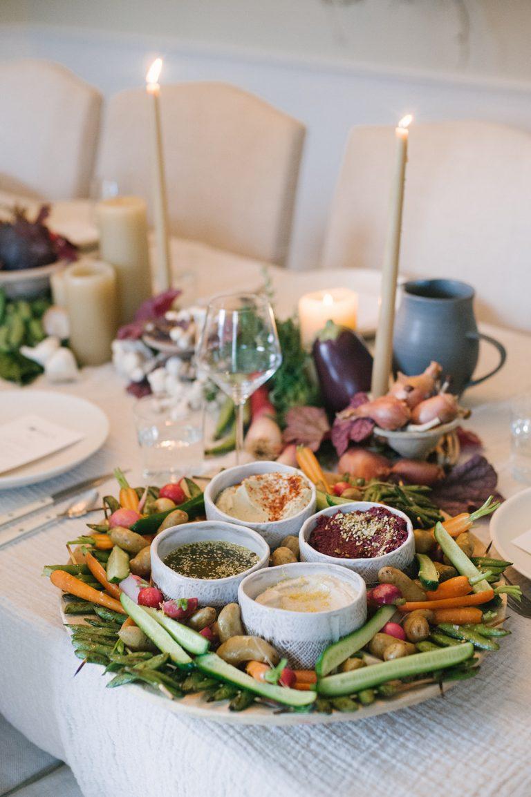 Jenni Kayne Retreat, dinner table, appetizer, crudites