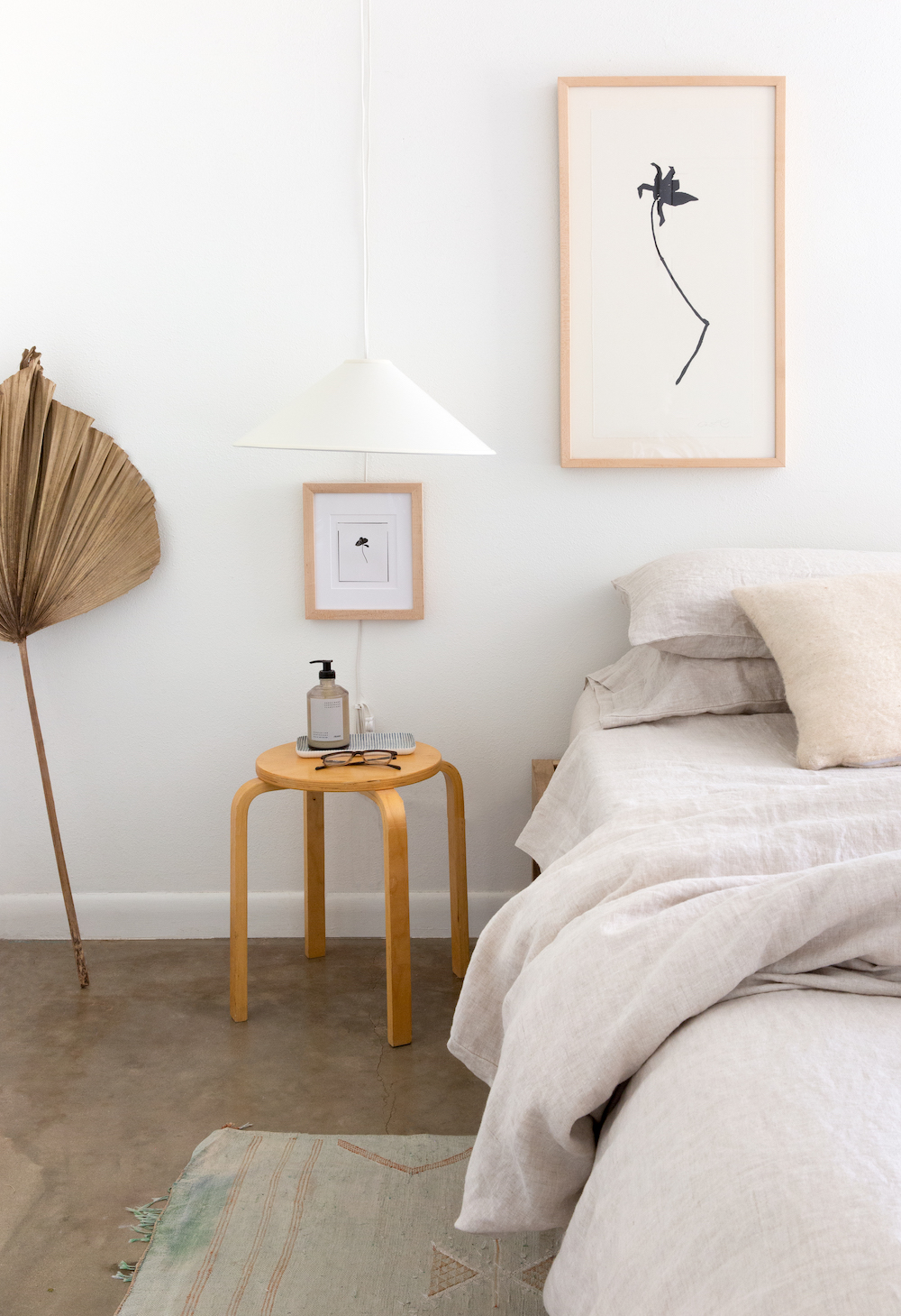 neutral and minimalist bedroom in a mid century austin home